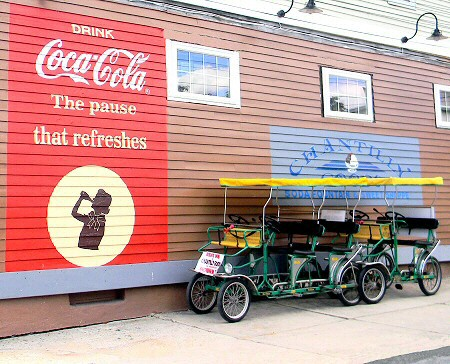 Surrey Cart Rental Weissport Jim Thorpe Poconos PA. along canal at Chantilly Goods Ice Cream Shop, Vintage Soda Fountain, Jim Thorpe Area